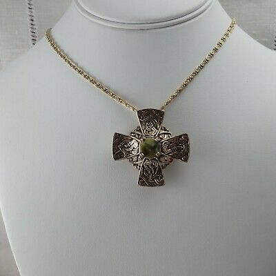 Vintage Miracle Celtic Maltese Cross Connemara Marble Center Pin Brooch Necklace