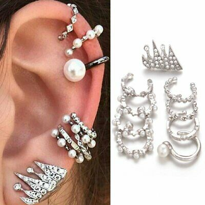 9PCS/Set Vintage Silver Claw Clip Cuff Stud Pearl Crystal Earrings Jewelry Gift
