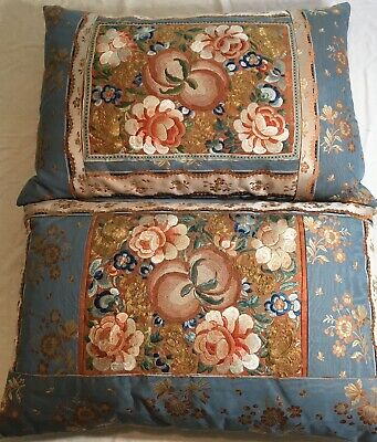 Pair Of Two Late 18th - Early 19th Century Chinese Embroidered Silk Pillows