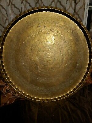 """Vintage Antique 30"""" Brass Round Oriental Platter / Table Top Wall Hanging Tray"""