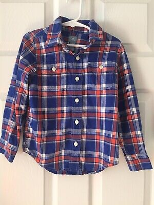 Baby Gap Boys Shirt Navy Blue White Orange Plaid Flannel Button Up Casual Size 5