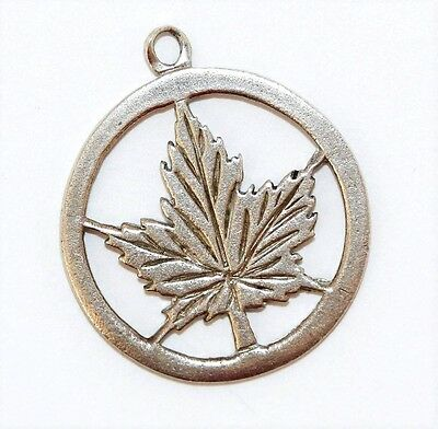 Canadian Maple Leaf Sterling Silver Vintage Bracelet Charm With Gift Box