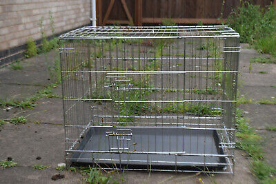 Metal Dog Cages Puppy Foldable Carrier Pet Training Cage Crates Black XL