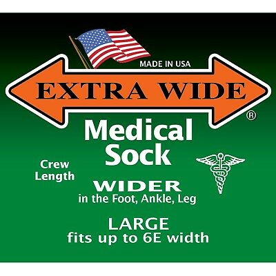 Extra Wide Socks Medical Diabetic Microban Crew Big Men's Widest Made in USA