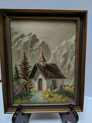 Oil Painting On Particle Board Austrian 5 X 7 Vintage 1951 Alpine Chapel