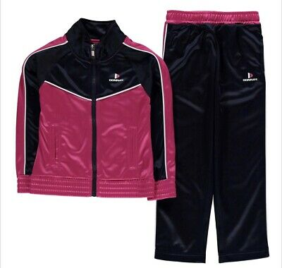 Girls Donnay Childrens Tracksuit Top Bottoms Black Pink Retro Age 9/10 Years New