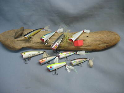 Vintage/old Fishing Lures-9 Antique  Baits- Top Water-Pop-R Type -Rebel-Classic