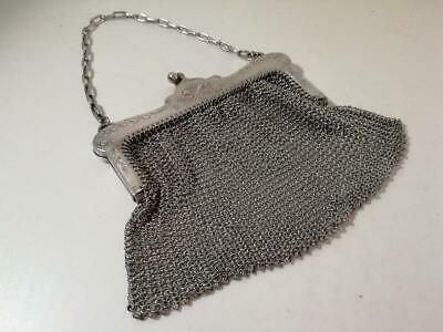 An Antique Silver Chain Mail Purse of Very Good Quality : London 1910