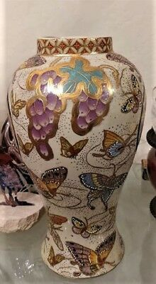 Rare Vintage Asian Or Euro Hand Painted Butterfly Vase Urn Ceramic Antique Gold