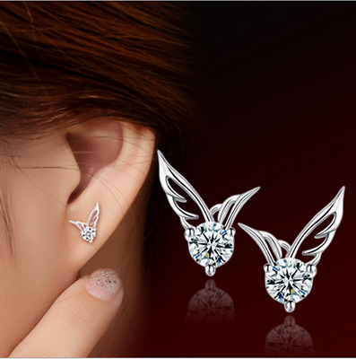 925 Sterling Silver Crystal Angel Stud Earrings Women Costume Jewellery