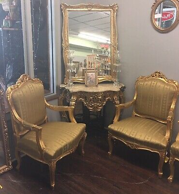 Antique 7 Piece French Style Furniture Gold 4 Chairs Settee Table Mirror Vintage