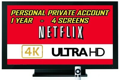Netflix 1 Year Subscription & Warranty: 4K UHD 4 Screens Private Not Share