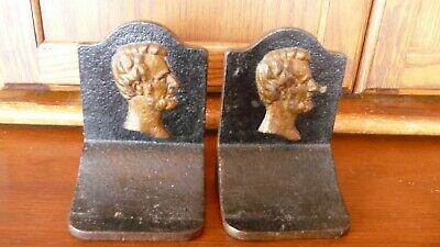 """Incredible Antique Pair of """"LINCOLN""""  IRON BOOK ENDS"""