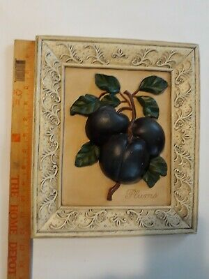 """Gorgeous Heavy 3D Picture Of Plums 12.5"""" Deciline New York Hand Painted"""