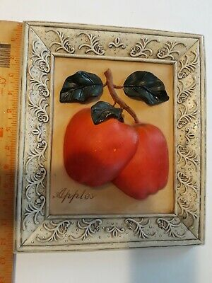 """Gorgeous Heavy 3D Picture Of Red Apple 12.5"""" Deciline New York Hand Painted"""
