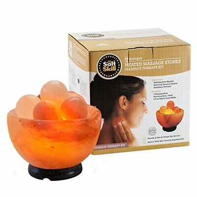 Salt Skill Salt Lamp Himalayan Salt Massage Stone Lamp w Elegant Wood Base,  NEW