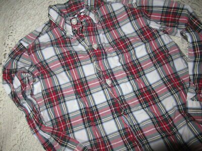 euc Janie and Jack red green navy plaid long sleeve button shirt  boy 2T