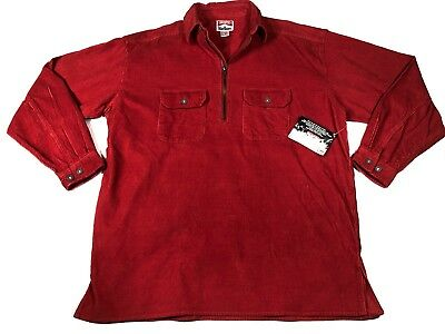 NEW Vintage Retro Mens Size M Red Marlboro Corduroy Jacket Shirt NWT 1/4 Zip