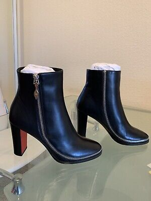 best service 0cf38 79fc3 NEW CHRISTIAN LOUBOUTIN Telezip Black Leather Ankle Boots Women's Size 39