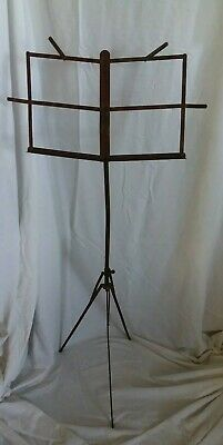 18/1900's ANTIQUE Metal Red Distressed Folding & Adjust Music Stand ~  2 pieces