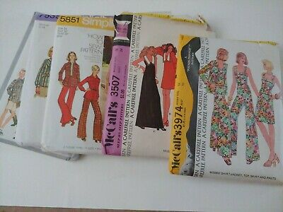 Lot 5 Vintage 1970's Sewing Patterns Simplicity McCall Dress Bottoms Top 12-14