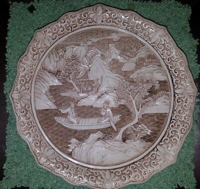 Vintage Ivory Dynasty Plate 1982 By Arnart Imports Inc Asian Carved Resin