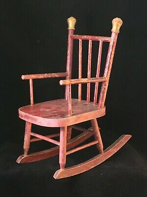 Antique Wooden Child's Doll Rocking Chair Original Paint Pine Rocker