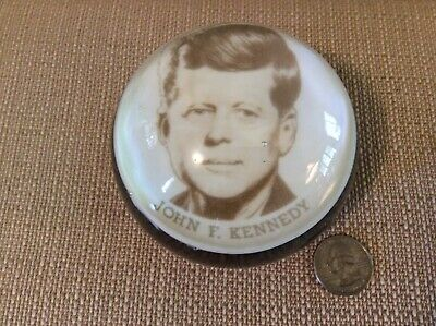 Vintage John F. Kennedy Glass Paperweight, Dated 1963