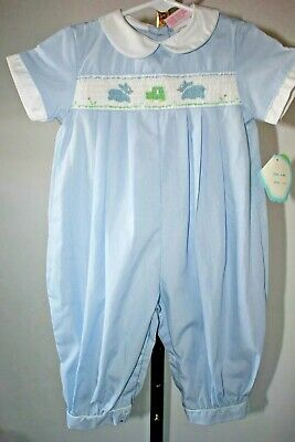 NWT Jelly n' Jam Baby Boy's 6 Months Blue Smocked One-Piece Short Sleeve Outfit