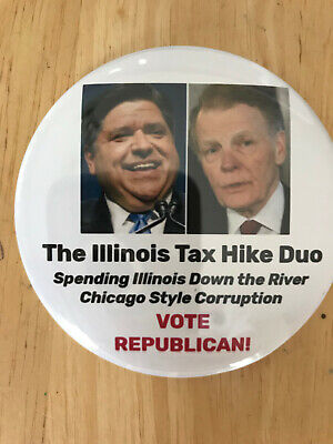 "Illinois Gov. J.B. Pritzker and Speaker Mike Madigan ""Tax Hike Duo""  button pin"