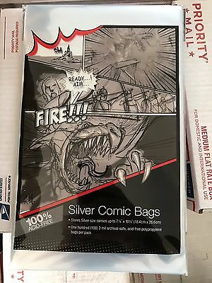 """1 Pack of 100 Ultra Pro 7 1/4"""" Silver Age Comic Book Storage Bags Sleeves"""