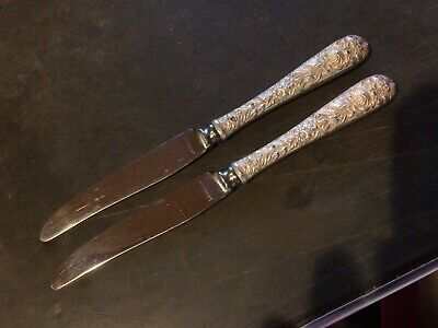 """KIRK & Son Repousse Sterling Silver Hollow Handle Pair 7 1/4"""" Fruit Knives"""