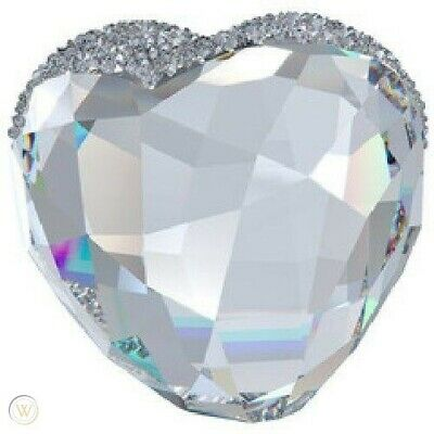 Swarovski Large Love Heart Crystal Clear Textured Top, Flat Base NIB 2013