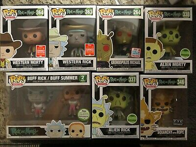 Rick and Morty Funko Pop lot exclusives Buff Rick Summer ECCC SDCC NYCC