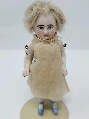 Antique German Jointed Bisque Miniature Dollhouse Girl Doll Orig Clothes 3.5""
