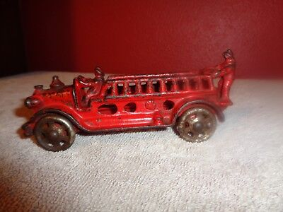 1920'S VINTAGE A.C. WILLIAMS CAST IRON metal red LADDER FIRE TRUCK