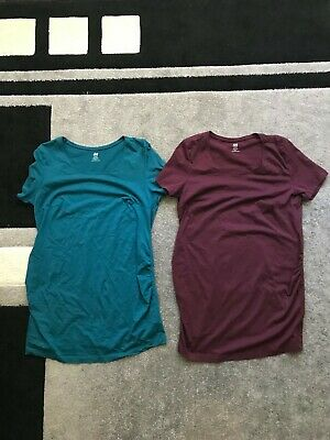 H&M MAMA size M x2 aqua green and red/maroon maternity tshirt tops NWOT