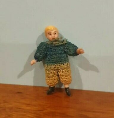 Antique German all-bisque jointed miniature Carl Horn tiny bisque doll