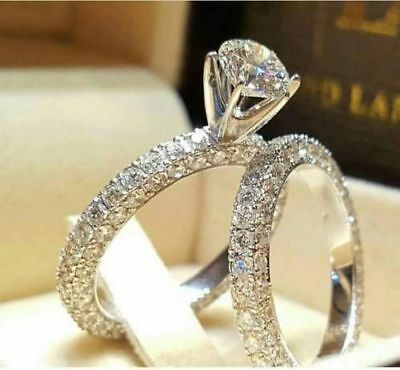 925 Silver Filled White Sapphire Birthstone Wedding Bridal Rings Set Gift Size 6