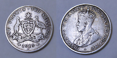 Australia: 1919M One Florin, King George V, Two Shillings KGV 2/- (HH21)