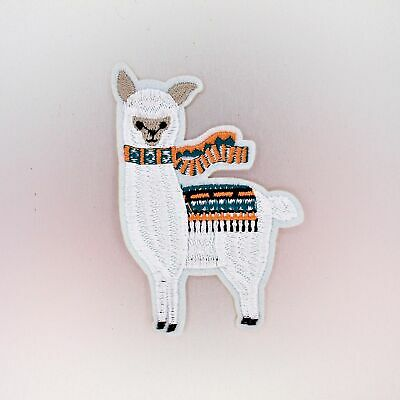 Llama with Scarf Patch — Iron On Badge Embroidered Motif — Alpaca White Animal