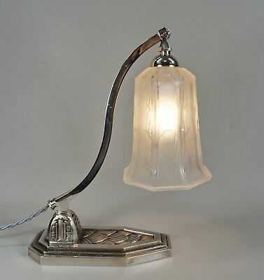 HETTIER & VINCENT signed french art deco table lamp plated bronze 1930 piano