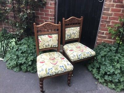 Pair Of Victorian Bedroom Chairs Upholstered. Low Seat. VGC REDUCED