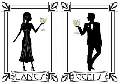 LADIES AND GENTS TOILETs SIGN Aluminium self adhiesive plaques WC Art Deco Decal