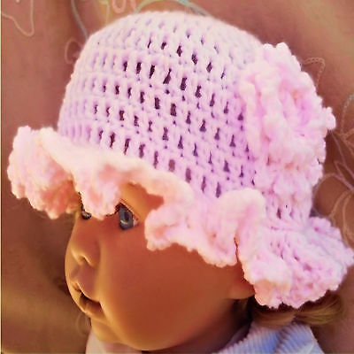 HAND CROCHETED PINK BABY GIRLS HAT knit shower gift romany bling vintage aiva