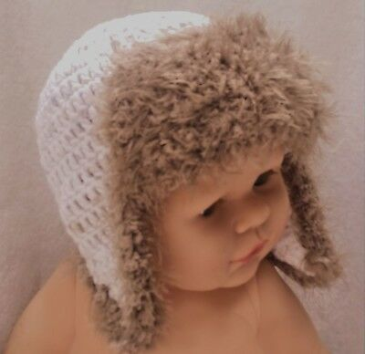 BABY BOYS CROCHET AVIATOR PILOT HAT fluffy ear flaps photoprop winter beanie