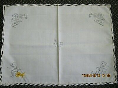 vintage stamped linen floral table centre doily cloth lace edge embroidery begun