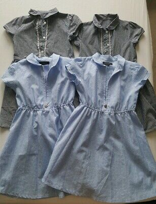 4x Blue School Gingham Dresses, Debenhams And George, 5-6 Yrs And 7 Yrs