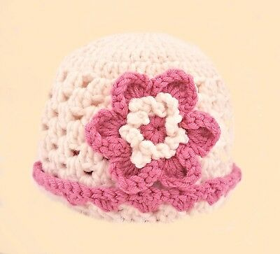 CROCHETED GIRLS REBORN DOLL HAT berenguer american tiny knit ivory merino wool