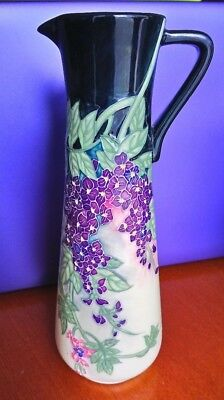 """Old Tupton Ware Tube Lined Hand Painted Purple Floral Tall Narrow Jug - 10"""""""